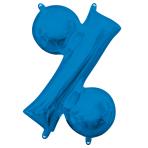 "Symbol % Blue Minishape Foil Balloons 16""/40cm A04 - 5 PC"