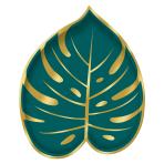 Key West Palm Leaf Shaped Metallic Paper Plates 18cm AH2308- 6 PKG/8