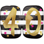 """Pink & Gold 40th Birthday Holographic SuperShape Foil Balloons 25""""/63cm x 22""""/55cm P40 - 5 PC"""