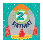 Blast Off 2nd Birthday Luncheon Napkins 33cm - 12 PKG/16