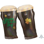 "Happy St. Patrick's Day Holographic Beer Glasses SuperShape Foil Balloons 26""/66cm w x 28""/71cm h P40 - 7 PC"