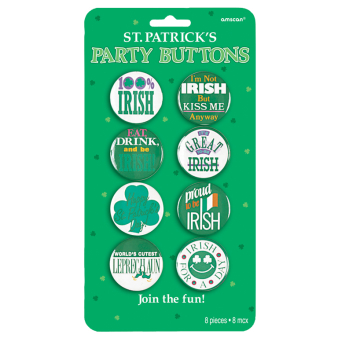 St. Patrick's Party Badges/Button 3.8cm - 6 PKG/8