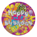 Happy Birthday Badges Small 55mm Holographic - 12 PKG