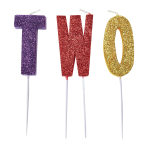 Glitter Pick Candle T-W-O - 6 PKG/3