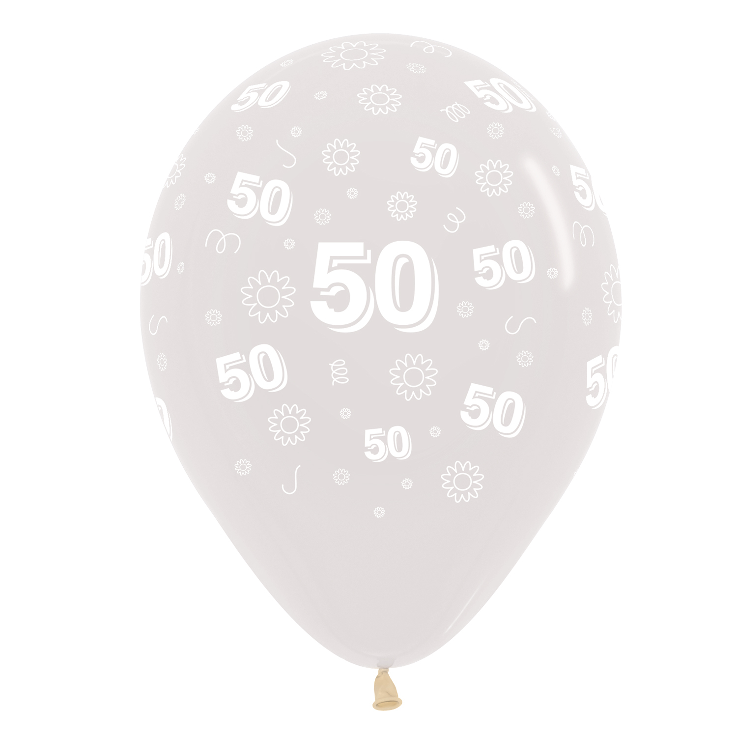 50th Birthday Flowers Clear 390 Latex Balloons 1230cm 25 Pc