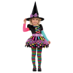 Miss Matched Neon Witch Costume - Age 2-3 Years- 1 PC