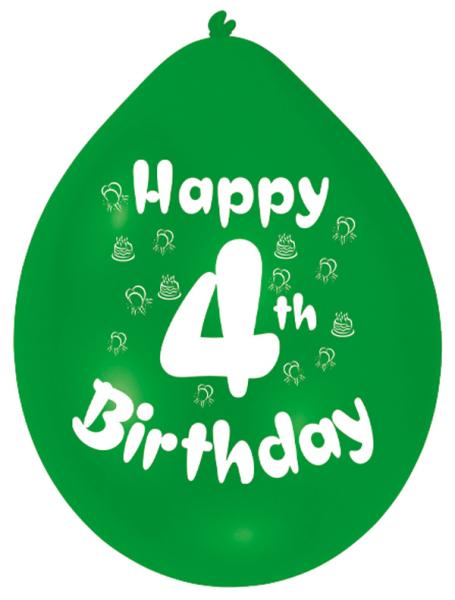 Happy 4th Birthday Latex Balloons