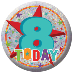Happy 8th Birthday Holographic Badges 5.5cm - 12 PKG