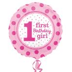 1st Birthday Girl Standard Foil Balloons S40 - 5PC