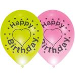 "LED Happy Birthday Hearts Latex Balloons 11""/27cm - 12 PKG/4"