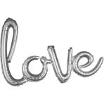 """Love"" Script Phrase Silver Foil Balloons 31""/78cm x 21""/53cm G40 - 5 PC"