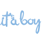 """It's A Boy"" Pastel Blue Script Phrase Foil Balloons G50 - 5 PC"