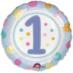 SpotOn 1st Happy Birthday Standard Foil Balloons S40 - 5 PC