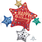 """Happy Birthday To You Satin Star Cluster SuperShape XL Foil Balloons 32""""/81cm w x 35""""/88cm h P40 - 5 PC"""