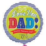 Dad Blue Stripes Standard Foil Balloons S40 - 5 PC