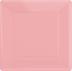 New Pink Square Paper Plates 18cm - 6 PKG/20