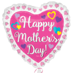 "Happy Mother's Day Ruffle Heart SuperShape XL Foil Balloons 28""/71cm x 28""/71cm P35 - 5 PC"