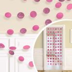 Bright Pink Glitter String Decoration 2.13m - 6 PKG/6