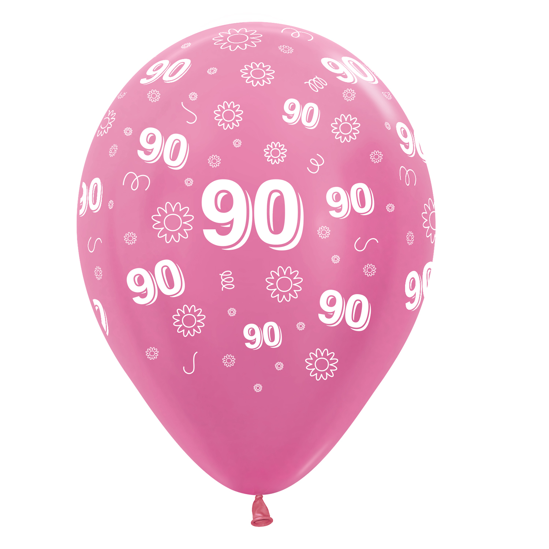 90th Birthday Flowers Pink 412512 Mix Latex Balloons 1230cm 25