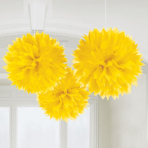 Yellow Paper Fluffy Decorations 40cm - 6 PKG/3