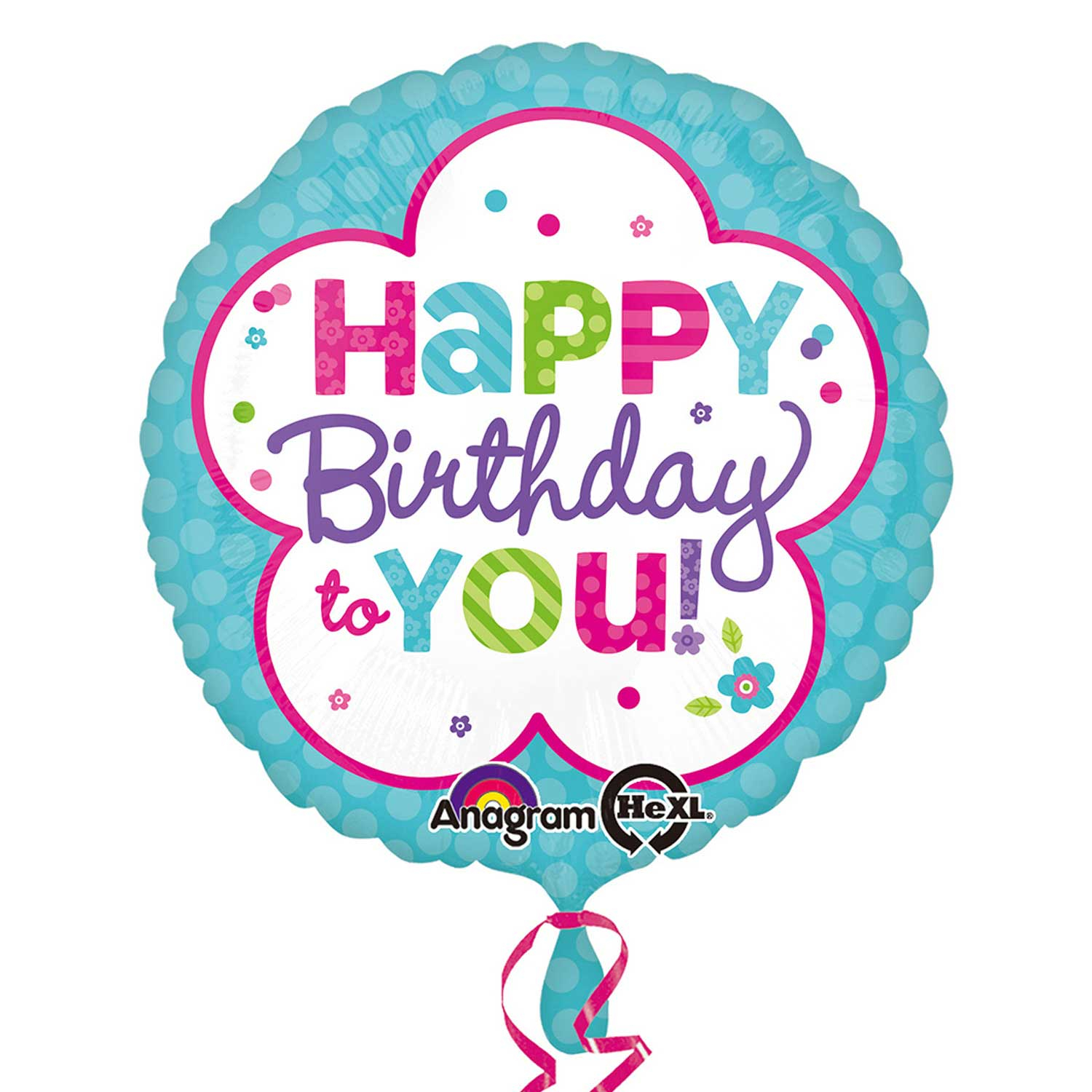 Pink & Teal Happy Birthday Standard Foil Balloons S40