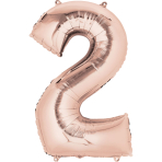 "Rose Gold Number 2 SuperShape Foil Balloons 20""/50cm w x 35""/88cm h P50 - 5 PC"