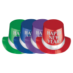 Jewel Tone Happy New Year Foil Top Hats - 12 PC