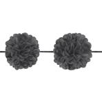 Black Fluffy Garlands Balls 3.65m x 13.9cm - 12 PKG/3