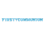 First Communion Blue Foil Letter Banner - 2.6m x 30.4cm - 12 PKG