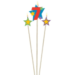 Star Birthday Candles Number 7 - 12.2cm & 13.5cm - 12 PKG/3