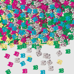 Number 18 Multi Colour Metallic Confetti 14g - 12 PC