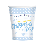 On your Christening Day Blue Paper Cups 266ml - 6 PKG/8