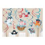 Ahoy Birthday Swirl Decorations - 9 PKG/12