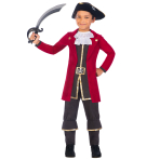 Captain Pirate Costume - Age 8-10 Years - 1 PC