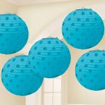 Caribbean Blue Hot Stamped Paper Lanterns 12cm - 6 PKG/5