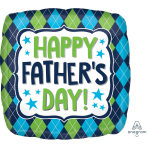 Happy Father's Day Argyle Standard HX Foil Balloons S40 - 5 PC