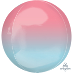 Ombre Pastel Pink & Blue Orbz Packaged Foil Balloons G20 - 5 PC