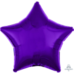 Metallic Purple Star Standard Unpackaged Foil Balloons S15 - 10 PC