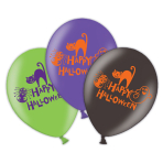 "Happy Halloween 4 Sided Latex Balloons 11""/28cm - 6 PKG/6"