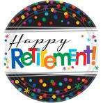 Happy Retirement Paper Plates 17cm - 12 PKG/8
