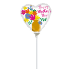 Happy Mother's Day Gold Vase Mini Balloons A15 - 5 PC