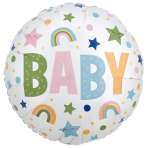 Natural Baby Satin Infused Standard XL Foil Balloons S40 - 5 PC
