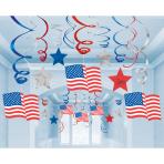 USA Mega Value Pack Hanging Swirl Decorations  - 6 PKG/30