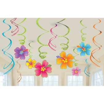 Hawaiian Swirls Decorations Value Pack - 12 PKG/12
