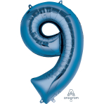 "Number 9 Blue SuperShape Foil Balloons 23""/58cm w x 35""/88cm h P50 - 5 PC"