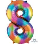 """Number 8 Rainbow Splash SuperShape Foil Balloons 21""""/53cm w x 33""""/83cm h P50 - 5 PC"""