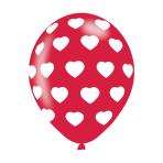"Polka Hearts White On Red Latex Balloons 11""/27.5cm - 10 PKG/6"