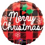 Merry Christmas Plaid Standard Foil Balloons S40 - 5 PC