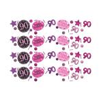 Pink Sparkling Celebration 90th Confetti 34g - 12 PC