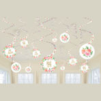 Floral Baby Swirl Decorations - 12 PKG/12